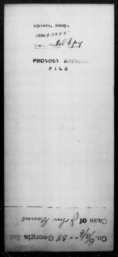 Squiers, Henry - State: Virginia - Year: [Blank]