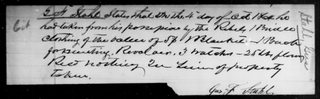 Stahl, Gus F - State: [Blank] - Year: 1864
