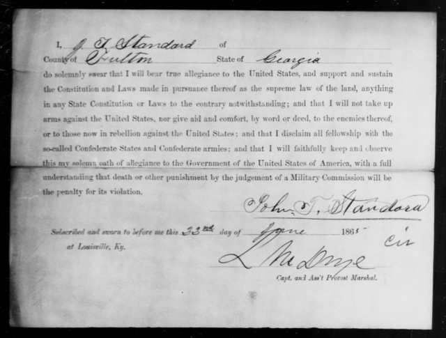 Standard, John T - State: Georgia - Year: 1865