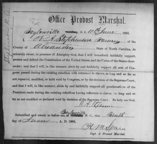 Stephenson, R A - State: North Carolina - Year: 1865