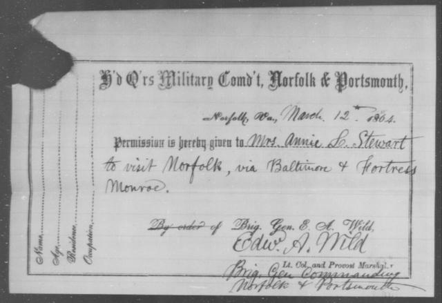 Stewart, Annie L - State: Virginia - Year: 1864