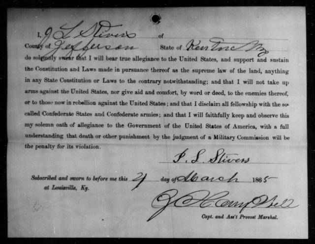 Stivers, J L - State: Kentucky - Year: 1865