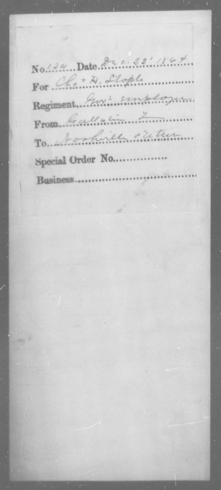 Stople, Chas H - State: [Blank] - Year: 1864