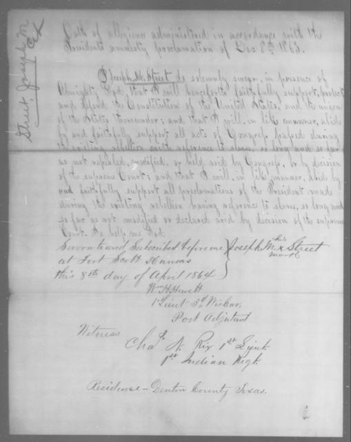 Street, Joseph M - State: Texas - Year: 1863