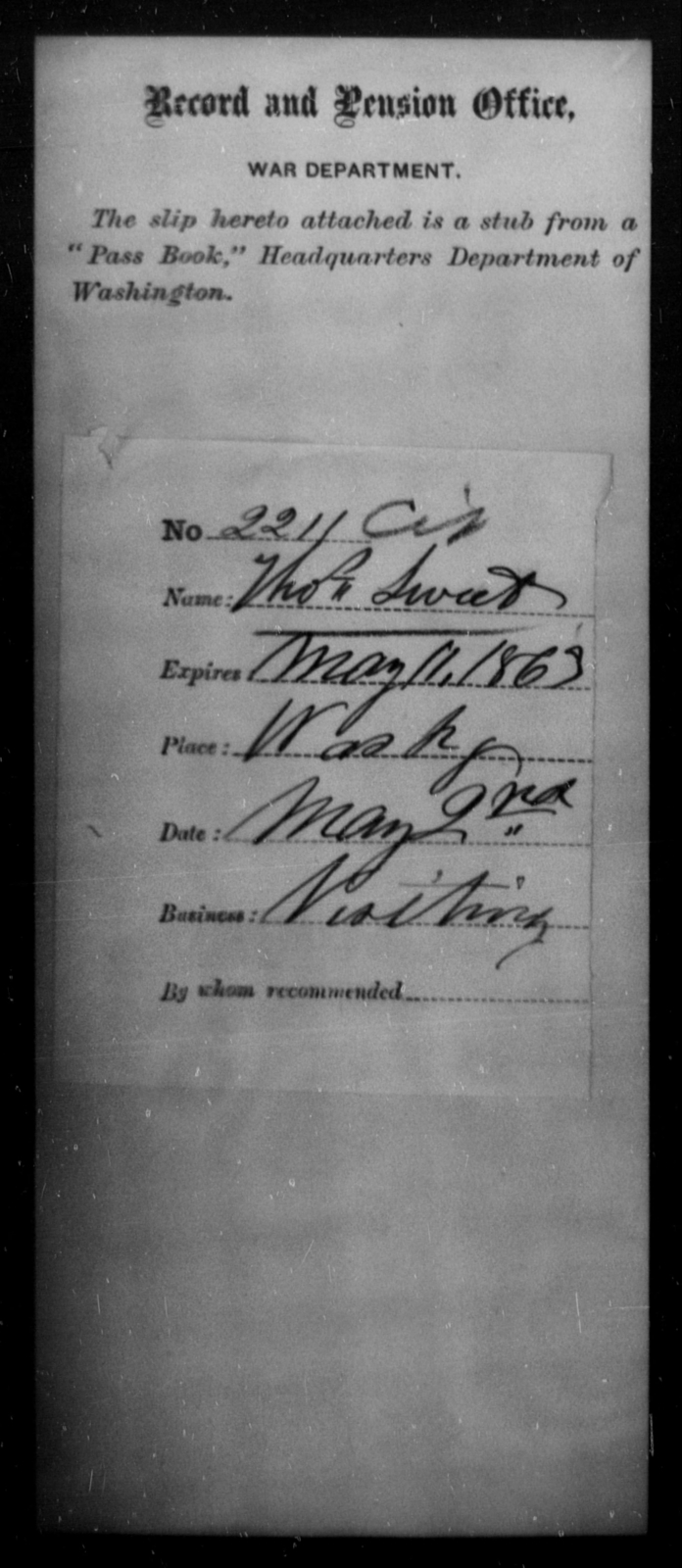 Sweet, Thos - State: Washington - Year: 1863