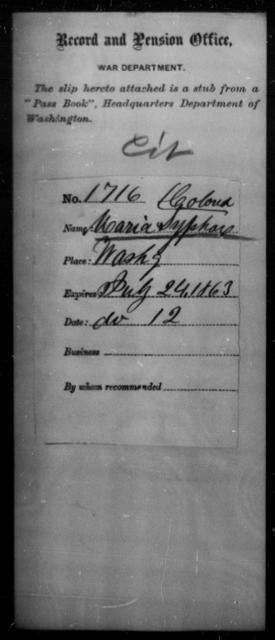 Syphax, Maria - State: Washington - Year: 1863