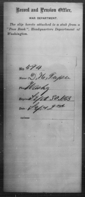 Tapley, D H - State: Washington - Year: 1863