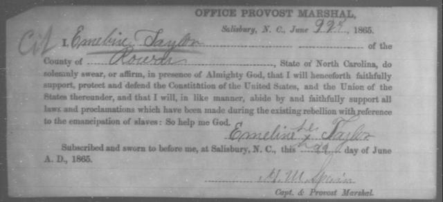Taylor, Emeline - State: North Carolina - Year: 1865