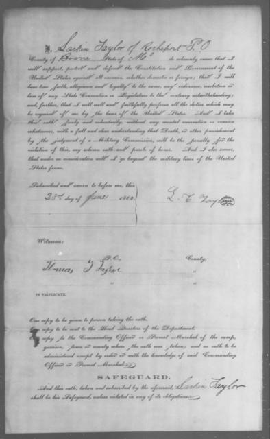 Taylor, Larkin - State: Missouri - Year: 1862
