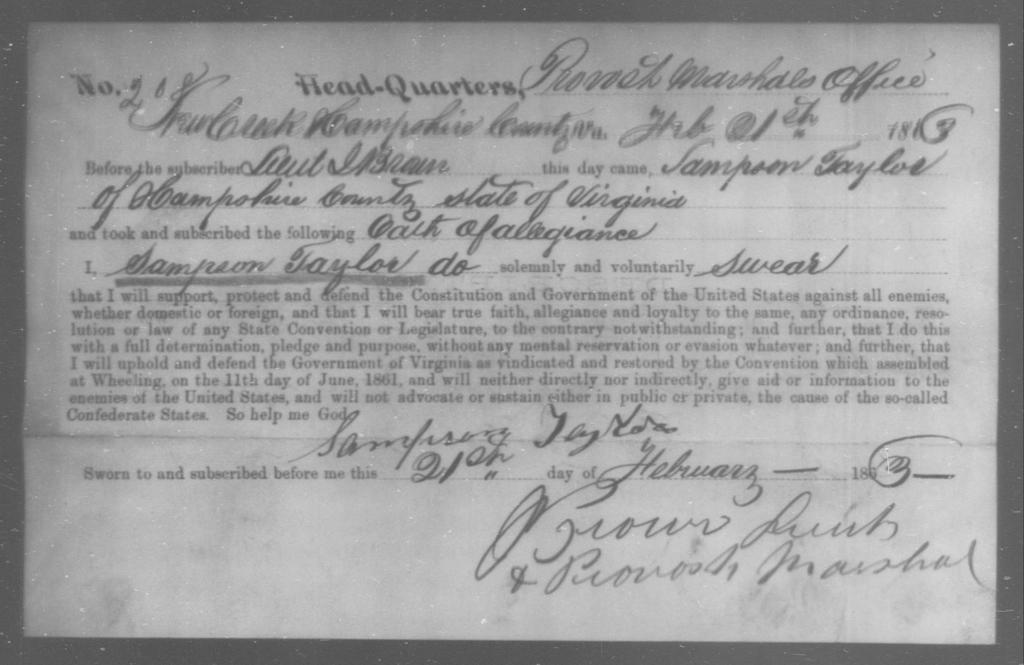 Taylor, Sampson - State: Virginia - Year: 1863