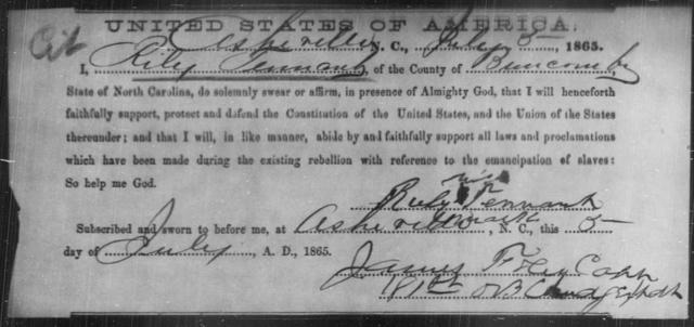 Tennant, Riley - State: North Carolina - Year: 1865
