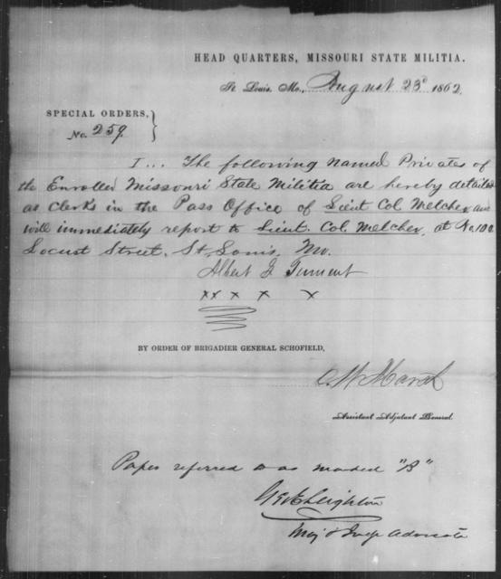 Tennent, Albert G - State: Missouri - Year: 1862