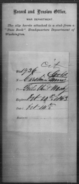 Tenner, Caroline - State: Washington - Year: 1863