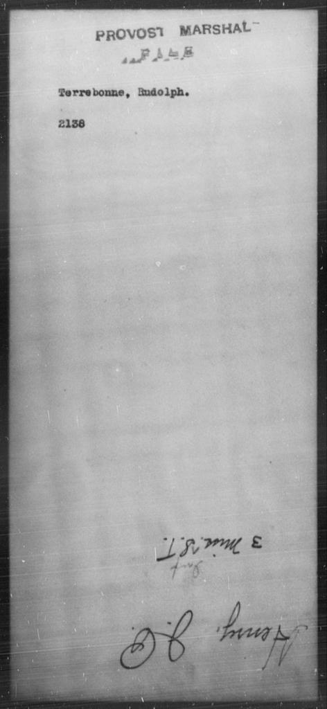 Terrebonne, Rudolph - State: [Blank] - Year: [Blank]