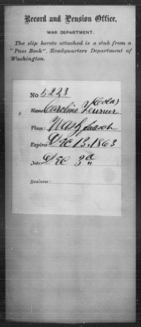 Teurner, Caroline - State: Washington - Year: 1863