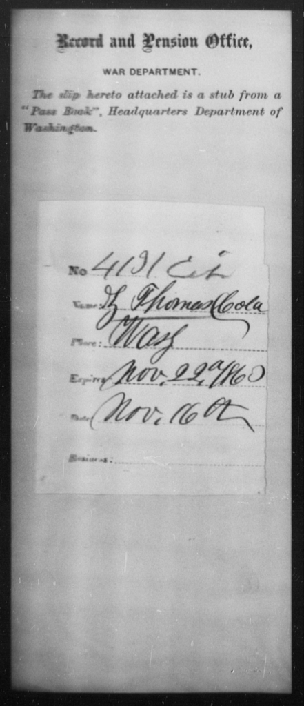 Thomas, Z - State: Washington - Year: 1863