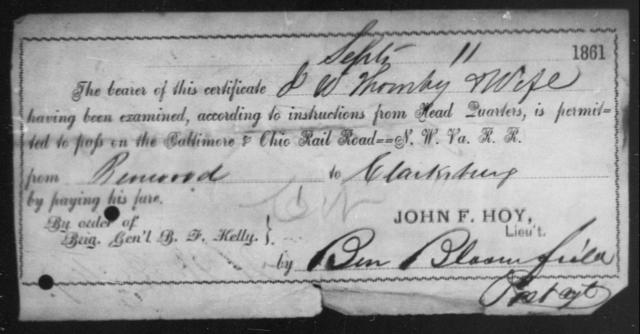 Thomby, J W - State: Ohio - Year: 1861