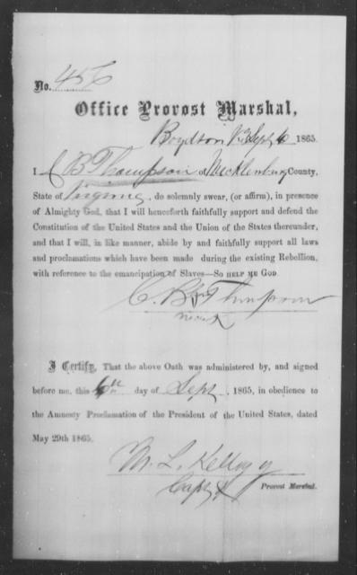 Thompson, C B - State: Virginia - Year: 1865