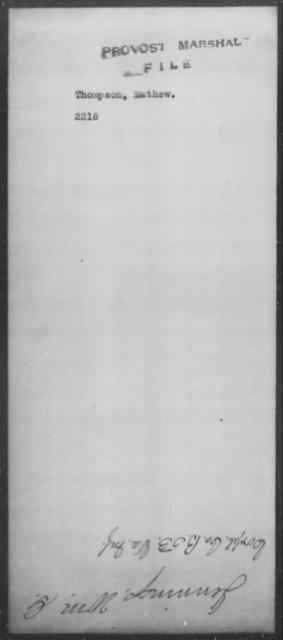 Thompson, Mathew - State: [Blank] - Year: [Blank]