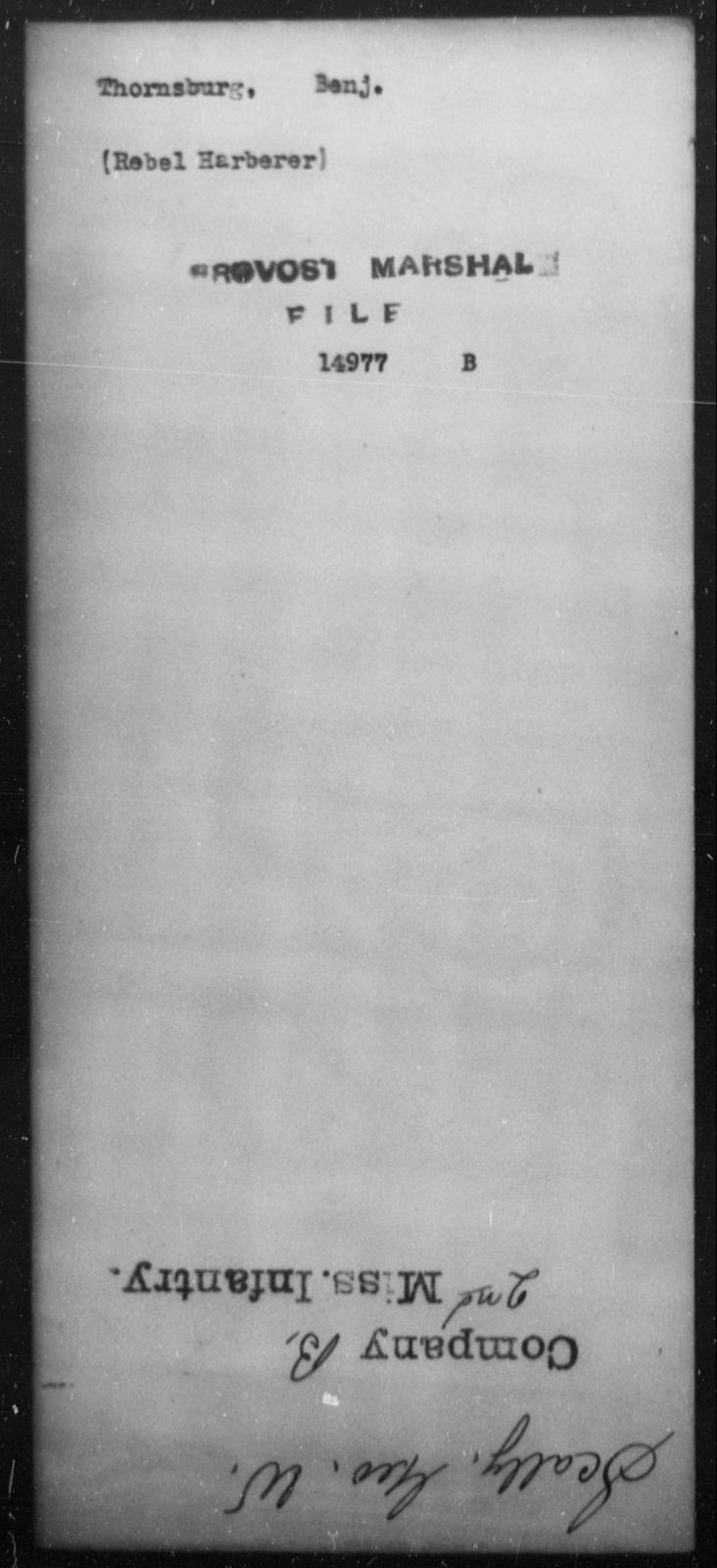 Thornsburg, Benj - State: [Blank] - Year: [Blank]
