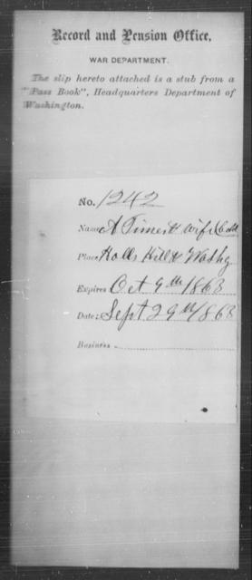 Timer, A - State: Washington - Year: 1863