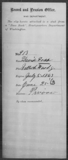 Todd, David - State: Washington - Year: 1863