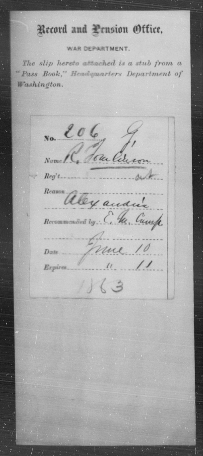 Tomlinson, R - State: [Blank] - Year: 1863