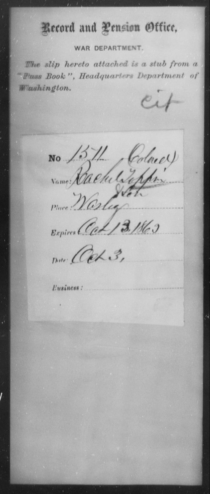 Toppan, Rachel - State: Washington - Year: 1863