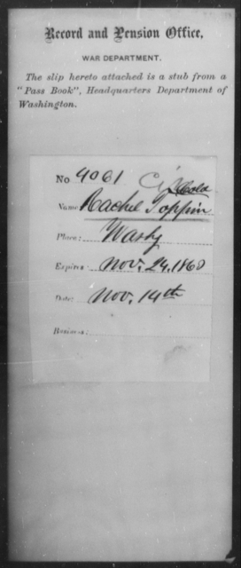 Toppin, Rachel - State: Washington - Year: 1863