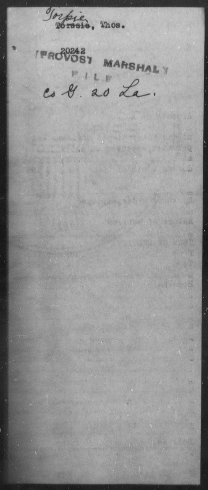 Torpie, Thos - State: [Blank] - Year: [Blank]
