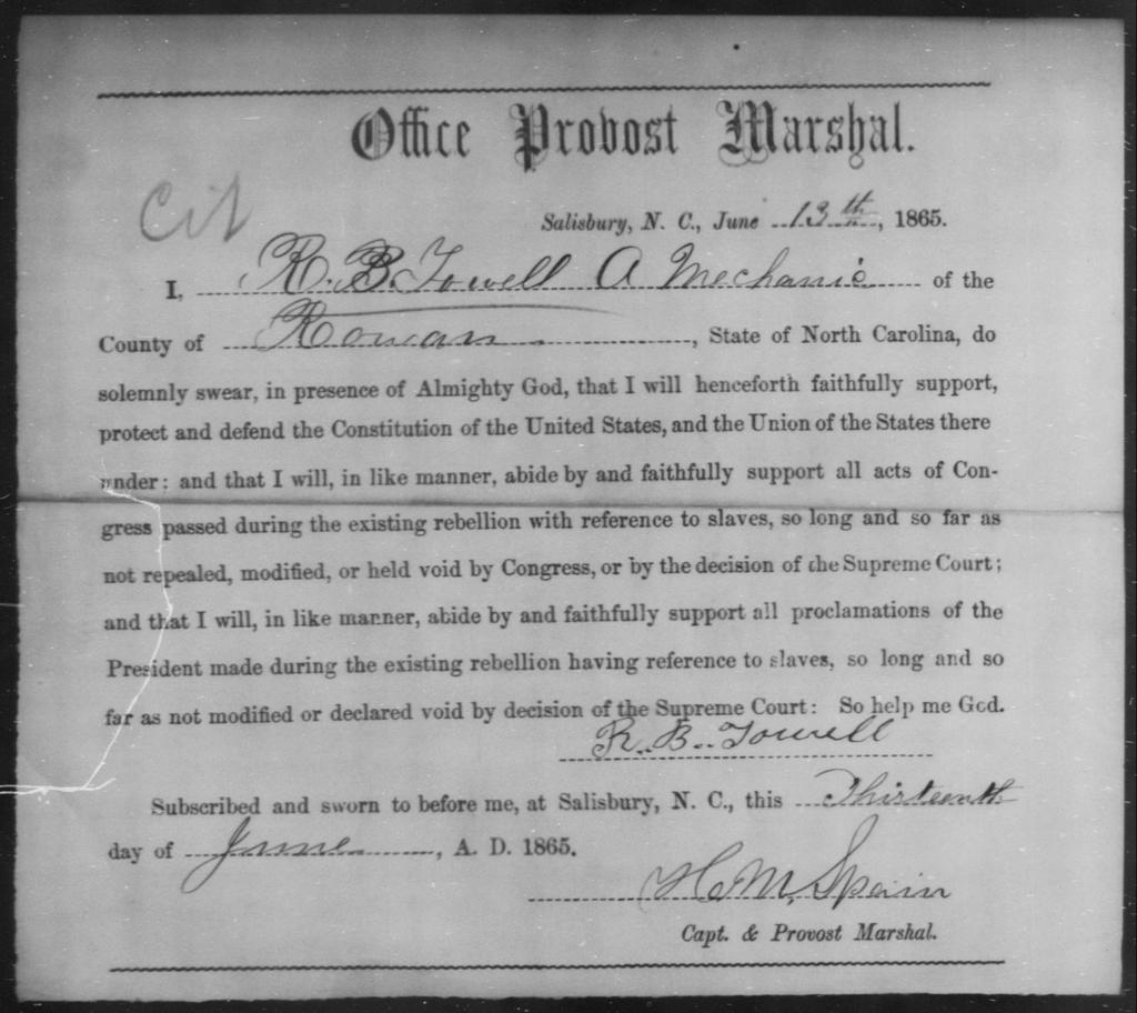Towell, R B - State: North Carolina - Year: 1865