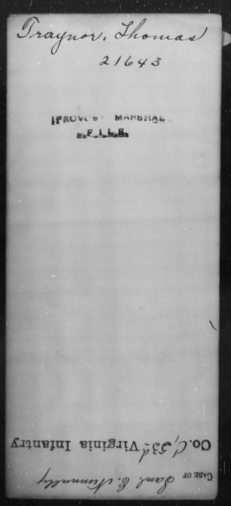 Traynor, Thomas - State: [Blank] - Year: [Blank]