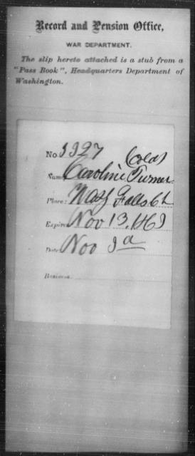 Turner, Caroline - State: Washington - Year: 1863