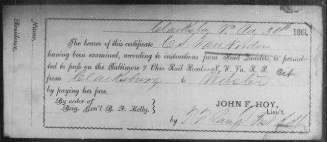 Van Norder, C S - State: Virginia - Year: 1861