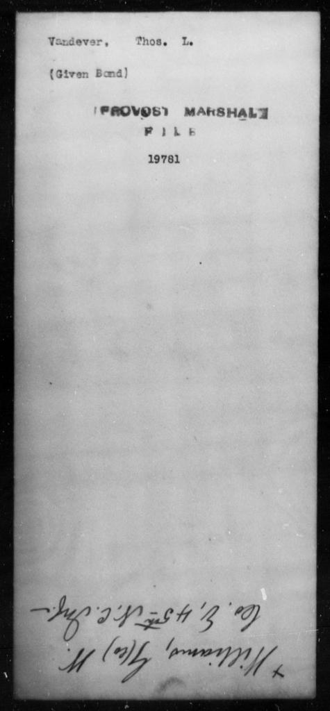 Vandever, Thos L - State: [Blank] - Year: [Blank]