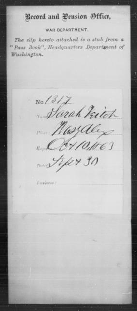 Veitch, Sarah - State: Washington - Year: 1863