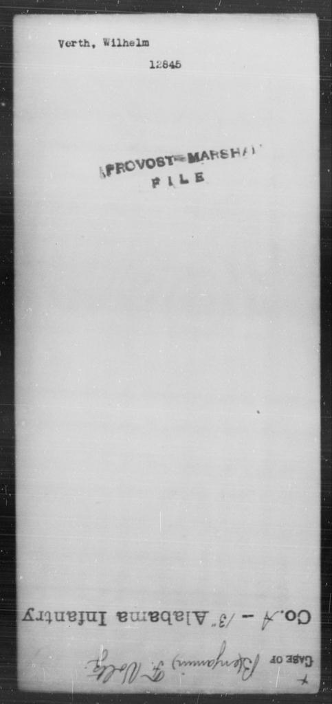 Verth, Wilhelm - State: [Blank] - Year: [Blank]
