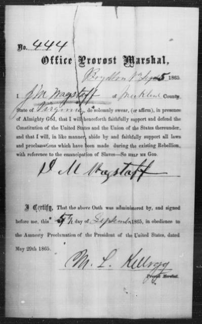 Wagstaff, J M - State: Virginia - Year: 1865