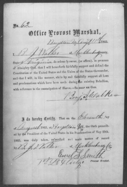 Walker, Benj J - State: Virginia - Year: 1865
