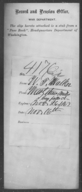 Walker, W T - State: Washington - Year: 1863