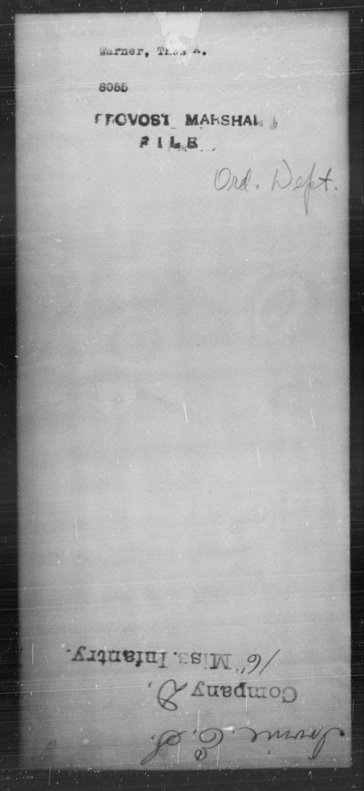 Warner, Thos A - State: [Blank] - Year: [Blank]