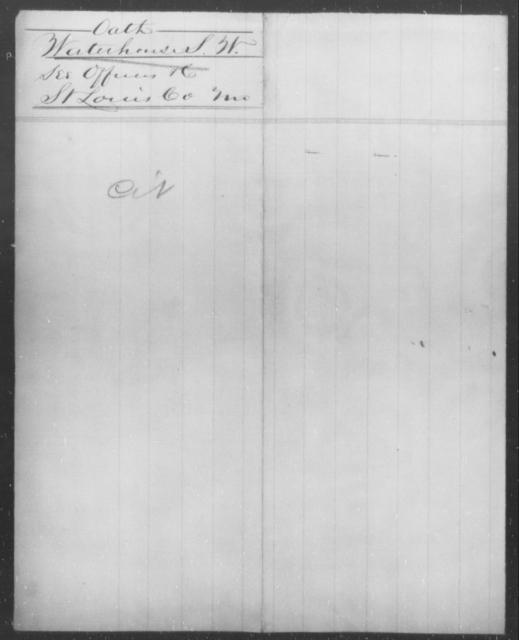 Waterhouse, S W - State: Missouri - Year: 1864