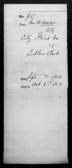 Watson, Geo W - State: Virginia - Year: 1864