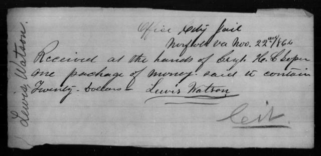 Watson, Lewis - State: Virginia - Year: 1864