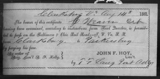 Weaver, J - State: Virginia - Year: 1861