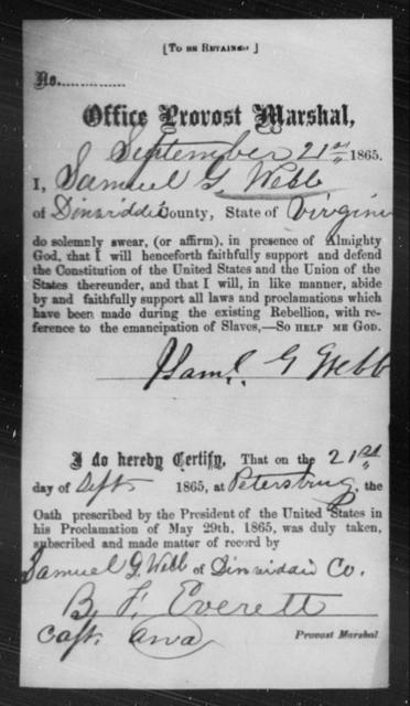Webb, Samuel G - State: Virginia - Year: 1865