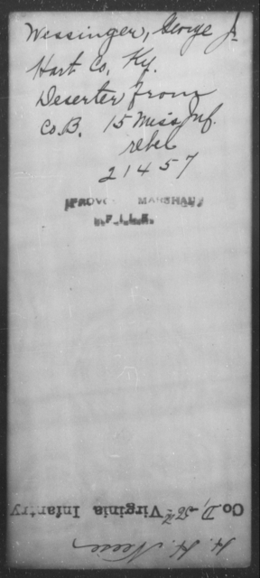 Wessinger, George A - State: Kentucky - Year: [Blank]