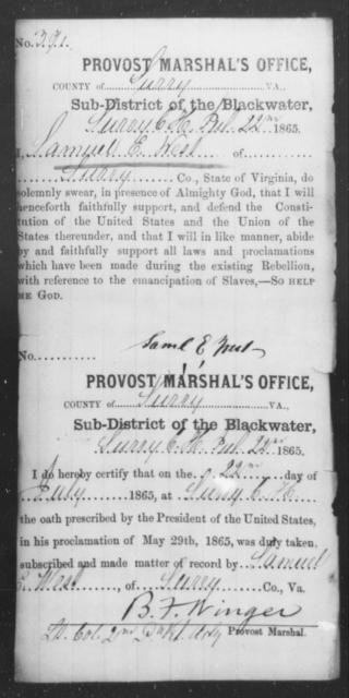West, Samuel E - State: Virginia - Year: 1865
