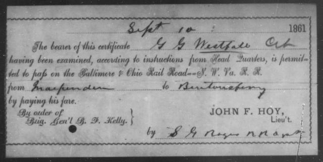 Westfall, G G - State: Ohio - Year: 1861