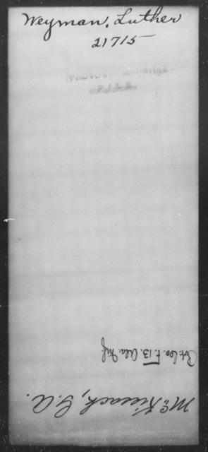 Weyman, Luther - State: [Blank] - Year: [Blank]